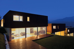 view of the beautiful modern houses, outdoor by night